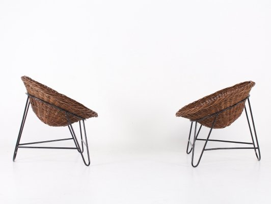 Pair of french wicker chairs, 1950's