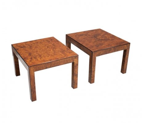 Pair of Burl Wood Side Tables, 1970s
