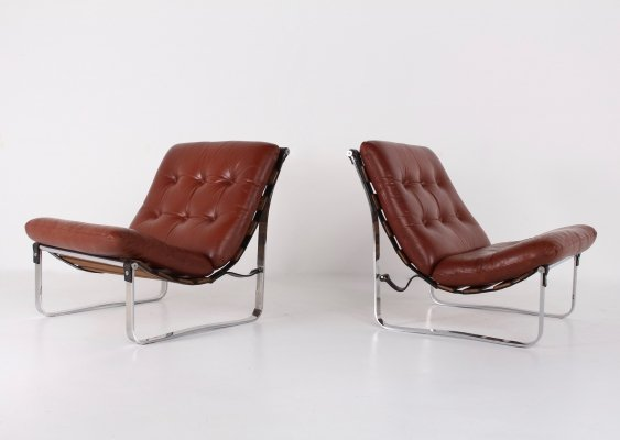 Cognac leather easy chairs, 1970s