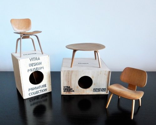 Plywood DCW, LCW & CTW miniatures by Charles & Ray Eames for Vitra, Switzerland