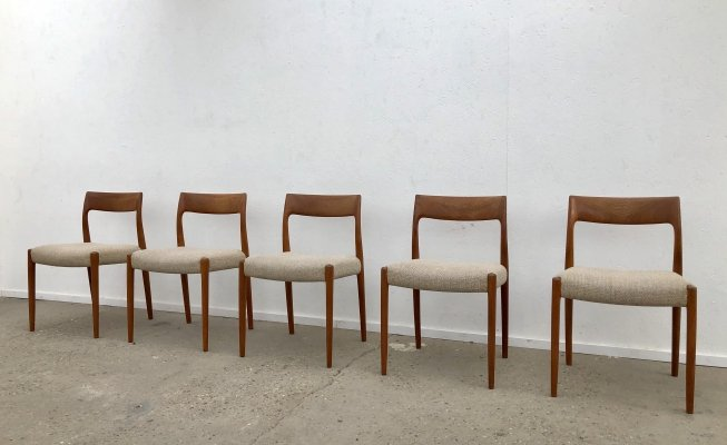 Set of 5 'model 77' dining chairs by Niels Otto Møller, Denmark 1960s