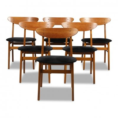 Vintage Danish design Farstrup teak/beech dining chairs