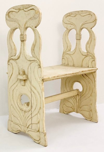 Art Nouveau Wood Bench, 1920s