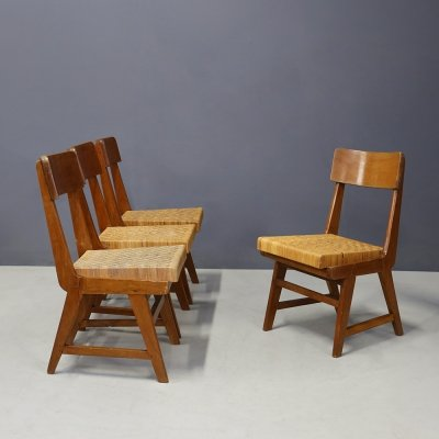 Set of 4 MidCentury chairs in walnut & straw, 1951