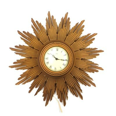 Large golden vintage sunburst clock, 1950s