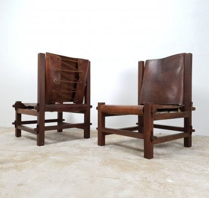 Brutalist set of low chairs in solid rosewood from Brazil, 1960s