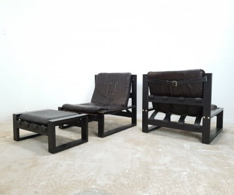 Brutalist set of leather lounge chairs with 1 hocker by Sonja Wasseur, 1970s