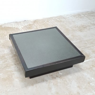 Rare Brutalist 1970s coffee table by Sonja Wasseur in Leather