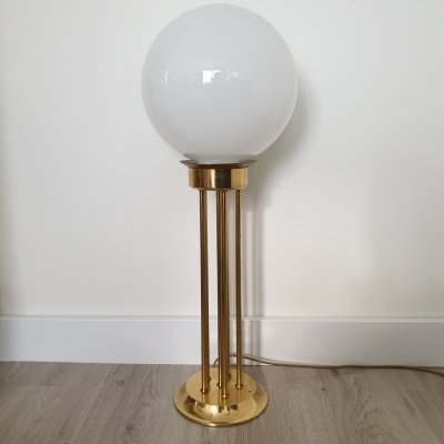 Vintage gold plated & opaline glass table lamp by Woja, 1970s