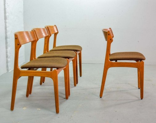 Set of 4 Scandinavian Design Erik Buch Dining Chairs, Denmark 1960s