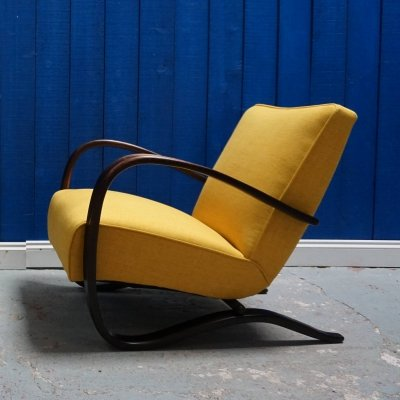 Jindrich Halabala for Thonet H-269 Bentwood Armchair in Yellow, 1930s