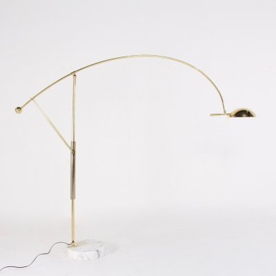 Adjustable brass arc floor lamp with marble base