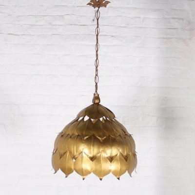Gilt metal leaf pendant, 1970s