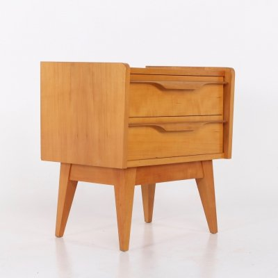 Scandinavian cherry bedside cabinet with drawers