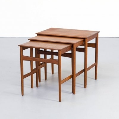 Hans J. Wegner teak nesting tables for Andreas Tuck, 1960s