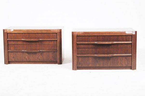 Wenge dark wood bedside tables, 1970s