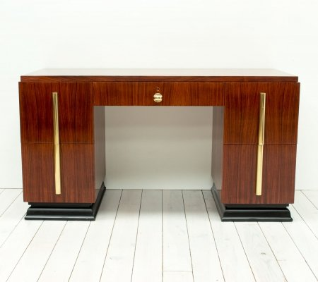 Art Deco Rosewood & Brass Desk, 1930s