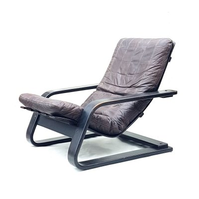Bentwood & leather adjustable lounge chair, Denmark 1960s