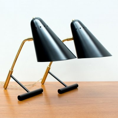 1950s Pair of Italian Black & Brass Desk Lamps