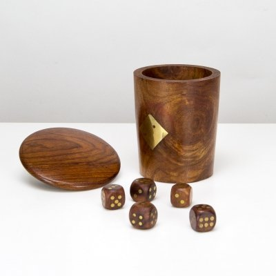 Hand-Made Teak & Brass Dice Cup, Denmark 1960s