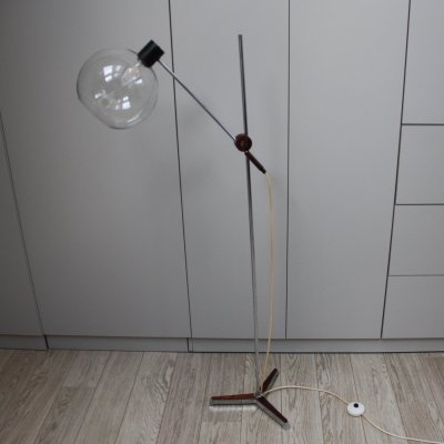 Vintage floor lamp with bulb in glass & details in rosewood, NL 1960's