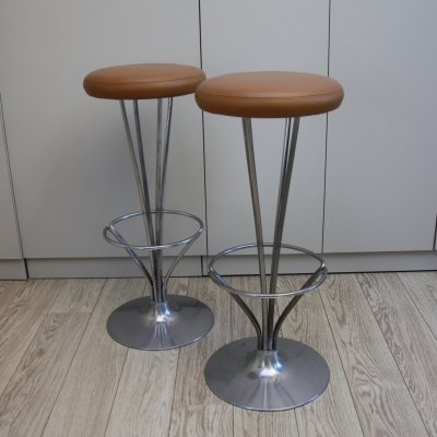 Set of 2 barstools in cognac leather by Piet Hein for Fritz Hansen, Denmark 1960's