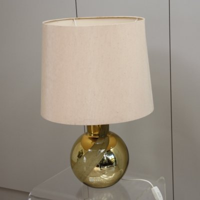 Orrefors Table lamp in golden glass with cream white lampshade, Sweden 1960's
