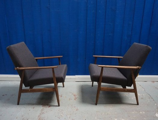 Pair of Mid Century Modern Charcoal Tweed Easy Chairs, 1960's