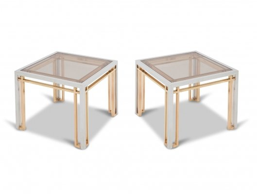 Romeo Rega Coffee Tables in Chrome, Brass & Glass, 1970s