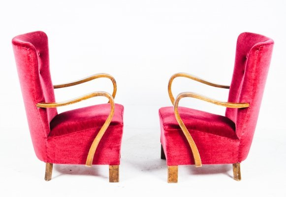 Hand-made Red Velvet Walnut Armchairs, 1930's