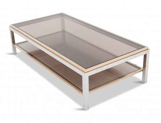 Willy Rizzo Rectangular Coffee Table In Brass, Chrome & Glass, 1970s