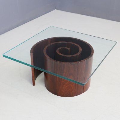 Vladimir Kagan Snail coffee table with spiral base & glass, 1960
