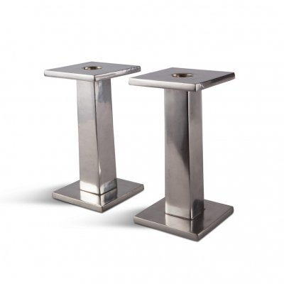 Postmodern polished steel Candlesticks by Ettore Sottsass, 1980s