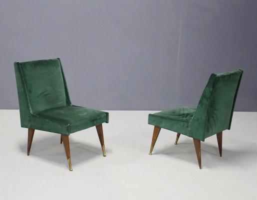 Pair of velvet & brass armchairs by Carlo Pagani, 1950s