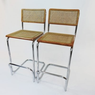 Pair of Mid-Century Cane & Beech Bar Stools, 1970s