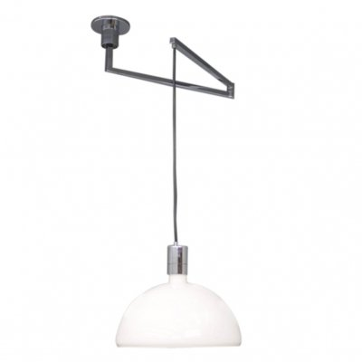 Glass & chrome 'Am/As' hanging lamp with swing arm by Franco Albini for Sirrah Italy, 1960s