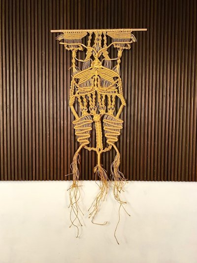 Large Vintage Hand-Knotted Macramé Fiber Art Wall Hanging, 1960s