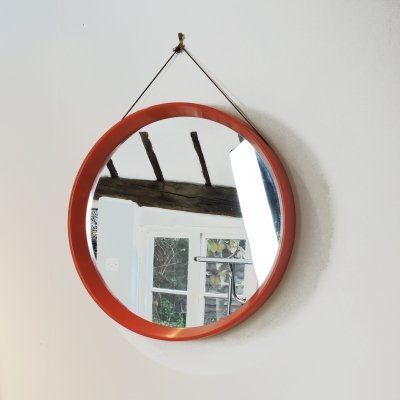 Mid-Century Circular Plastic Orange Danish Mirror, 1960s