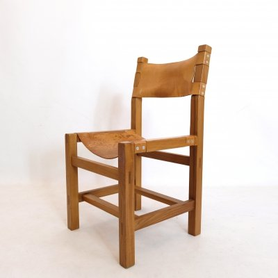 Maison Regain chair in solid elm & leather, 1960s-1970s