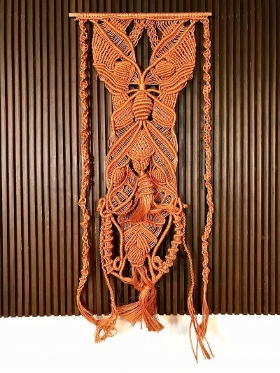Large Vintage Hand-Knotted Fiber Art Macramé Wall Hanging, 1960s