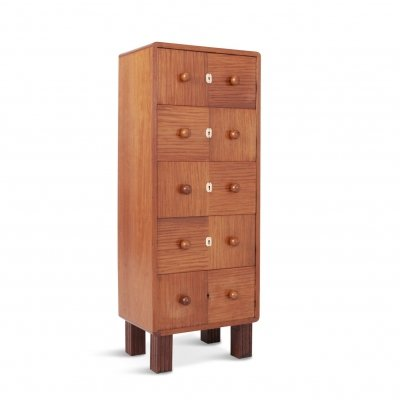 Modernist Five-Drawer Chest in Bubinga Wood, 1950s