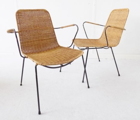 Pair of Gian Franco Legler Korbstuhl Basket Wicker Chairs, 1950s