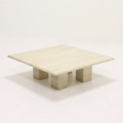 Mid Century Italian Design Travertine Coffee Table, 1970s