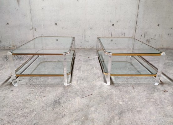 Lucite & brass coffee table, 1970s