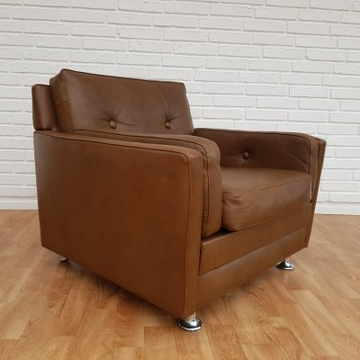 Danish lounge chair in brown leather, 1970s