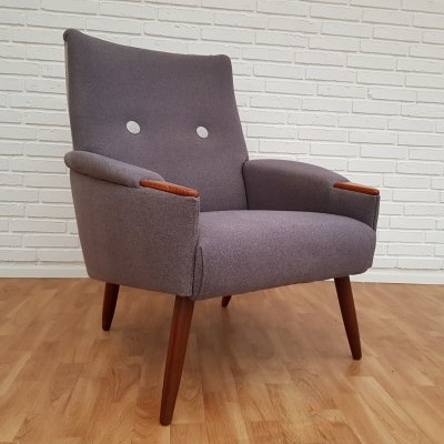 Danish retro lounge chair with legs in teak wood, 1960s