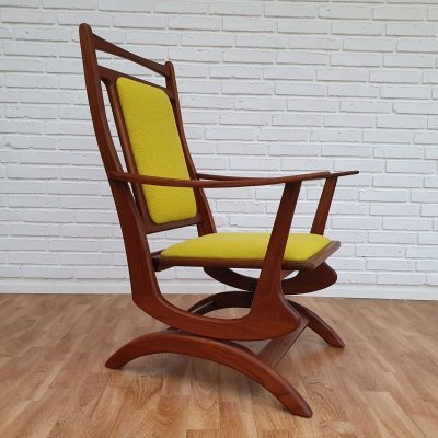 Rocking chair in solid teak wood, 1960s