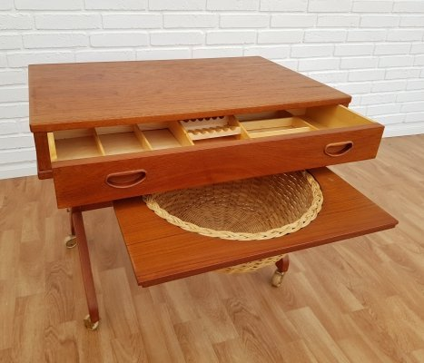 Vintage Danish sewing table in teak wood, 1960s