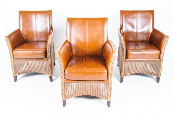 Set of 3 cognac leather 'Favorite' chairs by Lloyd Loom, 1990s