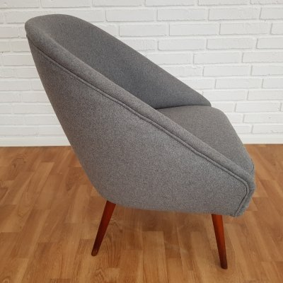 Vintage lounge chair in wool & beech, 1970's